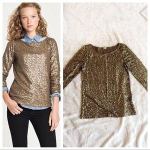 J.CREW Gold Bronze Glitter Sequins T-shirt Blouse